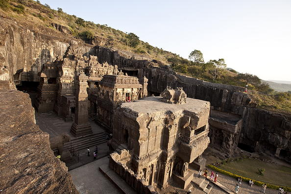 Ellora Caves-- UNESCO World Heritage Site  These 34 monasteries and temples, extending over more than 2 km, were dug side by side in the wall of a high basalt cliff, not far from Aurangabad, in Maharashtra. Ellora, with its uninterrupted sequence of monuments dating from A.D. 600 to 1000, brings the civilization of ancient India to life. Not only is the Ellora complex a unique artistic creation and a technological exploit but, with its sanctuaries devoted to Buddhism, Hinduism and Jainism, it illustrates the spirit of tolerance that was characteristic of ancient India. (photo: courtesy UNESCO)