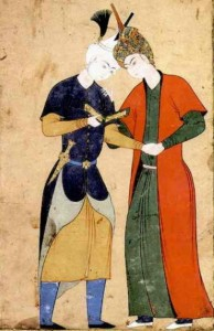 """Aqa Mirak"" - 16th Safavid watercolor by Aqa Mirak depicting two young princes and lovers. (currently located in the Smithsonian)"